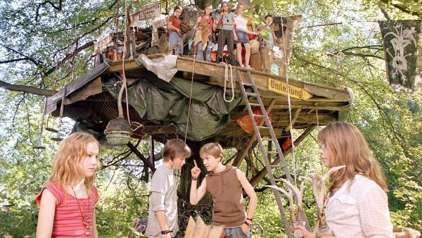 Große Aufregung: Die Wilden Hühner haben herausgefunden, dass das Baumhaus der Pygmäen abgerissen wird. Unten v.l.n.r.: Sprotte (Michelle von Treuberg), Fred (Jeremy Mockridge), Willi (Vincent Redetzki), Frieda (Zsa Zsa Inci Bürkle) | Rechte: ZDF/Rolf von der Heydt