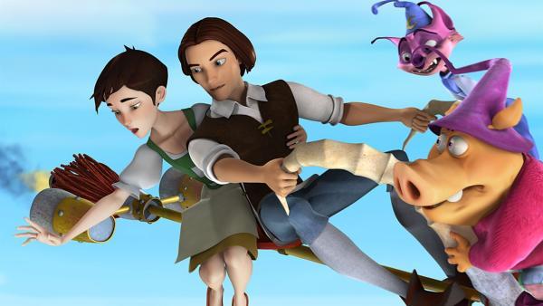 Ella und Rick fliegen durch das Märchenland. Und Mambo (2.v.re.) und Munk (1.v.re.) hoffen, dass doch noch alles gut wird... | Rechte: KiKA/BAF Berlin Film Animation