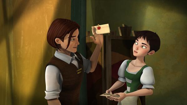 Rick überbringt Ella die Einladung zum königlichen Ball. | Rechte: KiKA/BAF Berlin Film Animation