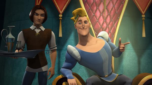Tellerwäscher Rick (li.) kann den eingebildeten Prinzen überhaupt nicht leiden und fragt sich, warum er Ellas Traummann ist? | Rechte: KiKA/BAF Berlin Film Animation