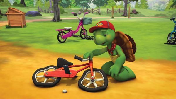 Franklins ist beim Radfahren über die Stränge geschlagen. | Rechte: KiKA/Nelvana Limited/Infinite Frameworks Pte Ltd