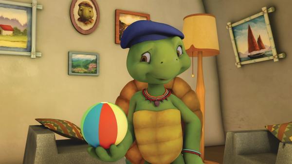 Tante hat einen Hoppedi-Bopp-Ball erfunden. | Rechte: KiKA/Nelvana Limited/Infinite Frameworks Pte Ltd.