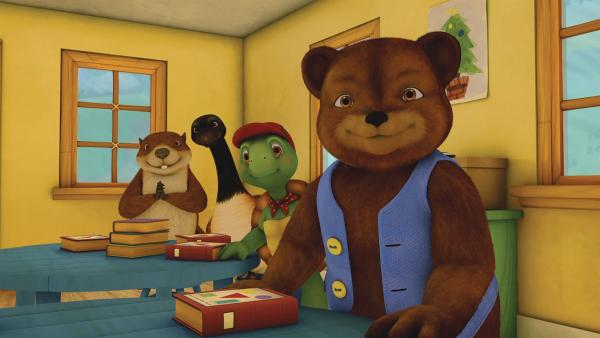 Franklin und seine Freunde staunen über einen besonderen Gast in der Schule. | Rechte: KiKA/Nelvana Limited/Infinite Frameworks Pte Ltd.