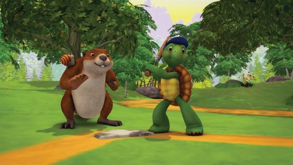 Franklin spielt mit seinen Freunden Baseball.   Rechte: KiKA/Nelvana Limited/Infinite Frameworks Pte Ltd.