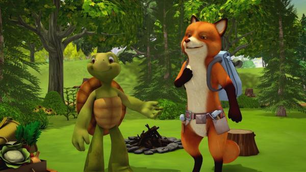 Herr Schildkröte und Herr Fuchs gehen mit ihren Kindern zelten.   Rechte: KiKA/Nelvana Limited/Infinite Frameworks Pte Ltd.