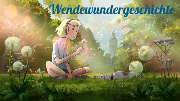 Fritzi sitzt auf einer Wiese und hält eine Pusteblume in der Hand. | Rechte: KiKA/Balance Film & TrickStudio Lutterbeck