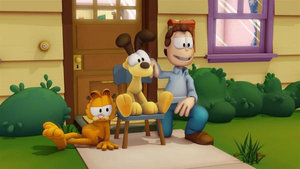 Garfield ist wieder da! Der gefräßige, faule Kater, der am liebsten gelangweilt vor dem Fernseher sitzt oder sich eine Extraportion Lasagne einverleibt, lebt noch immer im Hause von Jon Arbuckle mit seinem Hundefreund Odie. | Rechte: HR/DARGAUD MEDIA