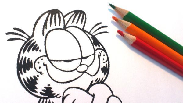Ausmalbild von Garfield mit Buntstiften