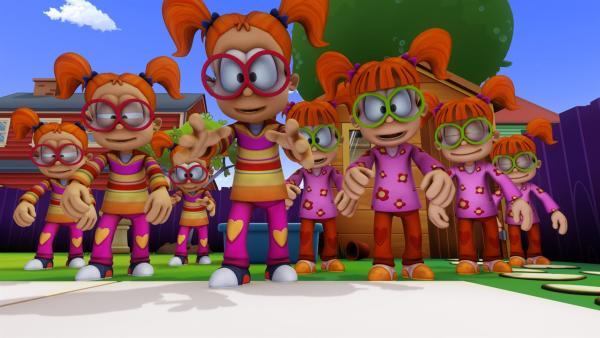 Garfield muss nicht nur mit Jons Nichten Drusilla und Minerva klarkommen, sondern auch noch mit den Nachbarskindern Chester und Lester. Und als ob vier nicht genug sind, sind sie plötzlich zu acht... | Rechte: HR/DARGAUD MEDIA