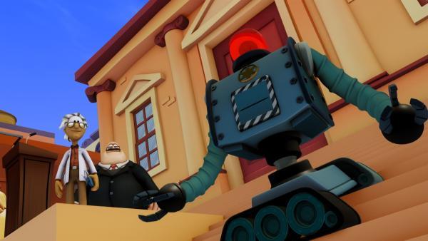 Der verrückte Professor Bonkers hat im Auftrag von Bürgermeister Grafton Polizei-Roboter entwickelt. | Rechte: HR/DARGAUD MEDIA
