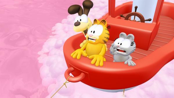 Damit das Baden nicht so langweilig ist, lässt Garfield seine Fantasie spielen und geht zusammen mit Odie und Nermal auf eine abenteuerliche Reise | Rechte: HR/DARGAUD MEDIA