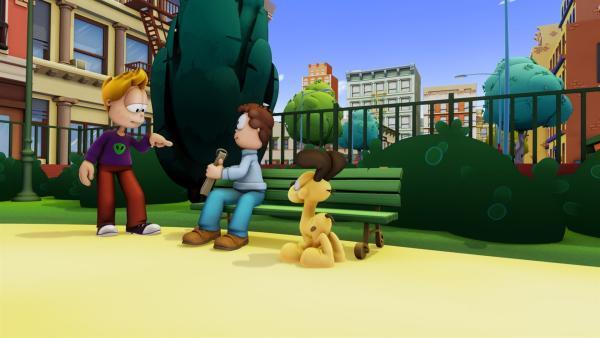 Im Park trifft Jon zufällig Tyler Edge (li.), einen superreichen Geschäftsmann. Umso begeisterter ist Jon natürlich, als Tyler ihm sagt, er solle mal mit einer Idee für einen Comic bei ihm vorbeischauen. | Rechte: HR/DARGAUD MEDIA