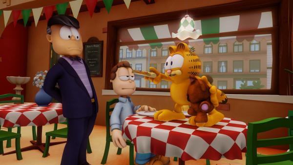 Der Industrielle Mr. Allwork spricht Jon an, da er sich Garfields Teddy Pooky ausleihen möchte, um Duplikate von Pooky herzustellen.   Rechte: HR/DARGAUD MEDIA