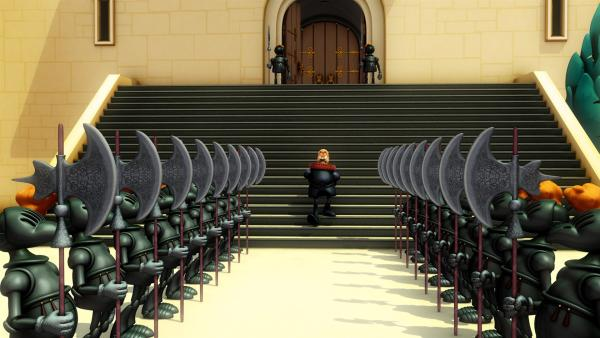 Der böse Vizekönig hat dafür gesorgt, dass Prinz Jon, gut bewacht, im Schlosskerker sitzt. | Rechte: HR/DARGAUD MEDIA