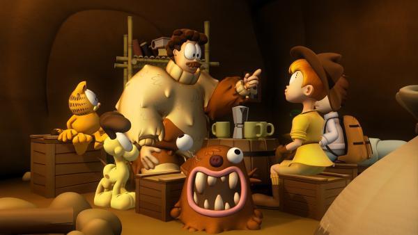 Jon, Angie und Garfield erfahren, dass Lyman in Wahrheit der Zabadu ist und wie es dazu kam. | Rechte: HR/Dargaud Media/MediaToon/Paws Inc./France 3