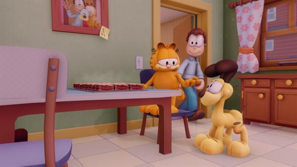 Solange Lasagne im Haus ist, ist für Garfield die Welt in Ordnung. | Rechte: HR/Dargaud Media/MediaToon/Paws Inc./France 3