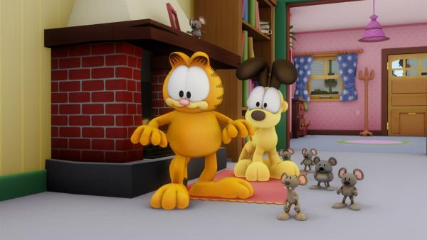 Garfield und Odie suchen vergeblich nach Squeak. Biff, ein Muskelprotz, der sich nichts sagen lässt, will erst verschwinden, wenn er Squeak wiedergesehen hat. | Rechte: HR/Dargaud Media/MediaToon/Paws Inc./France 3