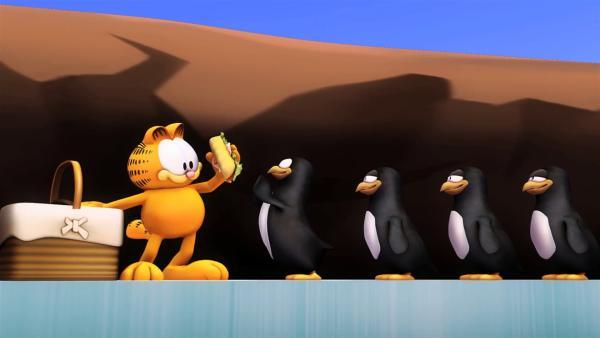 Garfield verteilt seine Sandwiches. | Rechte: HR/Dargaud Media/MediaToon/Paws Inc./France 3