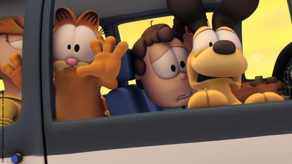 Garfield, Jon und Odie m Flugzeug | Rechte: HR/Dargaud Media/MediaToon/Paws Inc./France 3