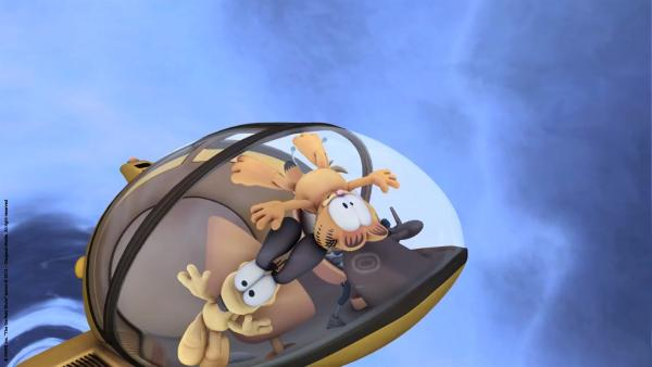 Garfield auf dem Weg zum Planeten Schprocket.   Rechte: HR/Dargaud Media/MediaToon/Paws Inc./France 3