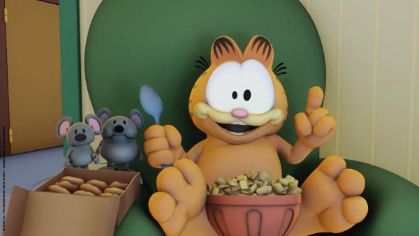 Garfield freut sich, denn gleich kommt die Maus. | Rechte: HR/Dargaud Media/MediaToon/Paws Inc./France 3