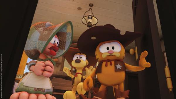 Hilfssheriff Garfield kommt in den Saloon. | Rechte: HR/Dargaud Media/MediaToon/Paws Inc.France 3