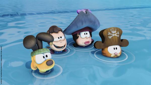 Garfield und seine Crew sind Schiffbrüchige. | Rechte: HR/Dargaud Media/MediaToon/Paws Inc./France 3