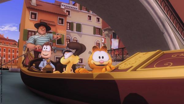 Garfield bei einer Gondelfahrt in Venedig | Rechte: HR/Dargaud Media/MediaToon/Paws Inc./France 3