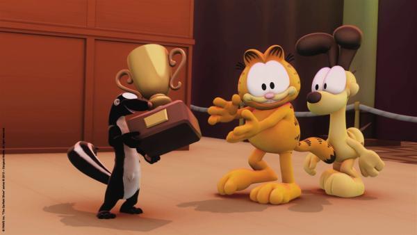 Garfields neuer Freund, das Stinktier, hat den Schönheitswettbewerb gewonnen. | Rechte: HR/Dargaud Media/MediaToon/Paws Inc./France 3