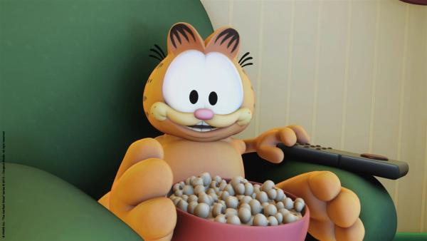 Noch kann Garfield gemütlich vor dem TV lümmeln.   Rechte: HR/Dargaud Media/MediaToon/Paws Inc./France 3