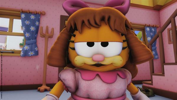 Minerva und Drusilla sind mal wieder zu Besuch und haben Garfield verkleidet.   Rechte: HR/Dargaud Media/MediaToon/Paws Inc./France 3