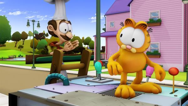 Garfield erfindet eine Maschine, die all seine Wünsche erfüllt. | Rechte: HR/DARGAUD MEDIA