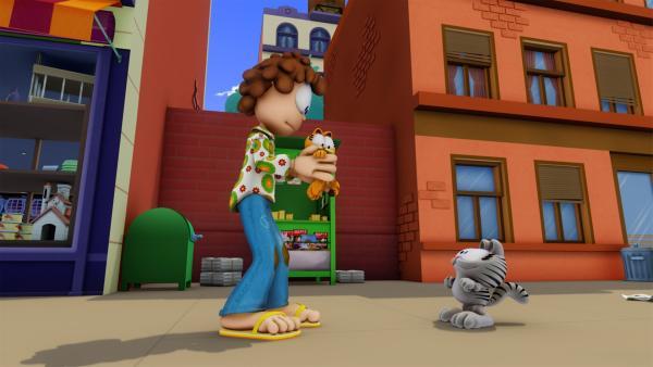 Mit Hilfe einer Zeitmaschine gelingt es Nermal an Garfields Stelle zu treten. Jon nimmt ihn mit und Nermal erhält seine eigene Nermal Show | Rechte: HR/DARGAUD MEDIA