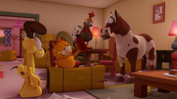 Garfield soll auf die Farmtiere von Jons Bruder aufpassen. Ob das gut gehen kann? | Rechte: HR/DARGAUD MEDIA