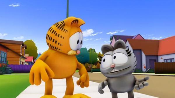 Garfield rettet Nermals Leben. Doch ewig dankbar zu sein, geht Nermal schnell auf die Nerven. | Rechte: HR/DARGAUD MEDIA