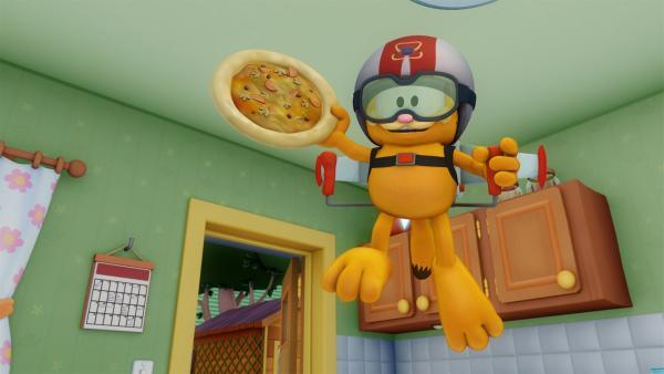Das Frettchen von Liz ist einfach zu flink für Garfield. | Rechte: HR/DARGAUD MEDIA