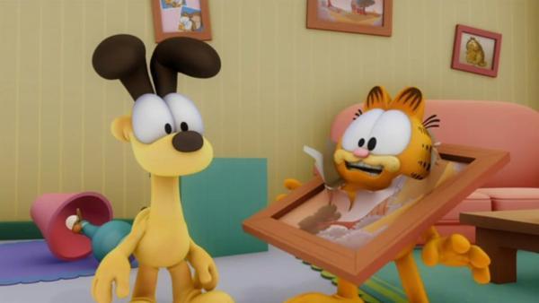 Garfield fürchtet sich vor dem Nachbarsjungen Nathan, der sich in einen Geist verwandelt hat. | Rechte: HR/DARGAUD MEDIA