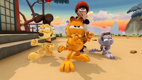 Um den zweiten Teil des Schlüssels zu finden, müssen Nermal, Odie und Garfield Kung Fu lernen und eine Prüfung bestehen. | Rechte: HR/DARGAUD MEDIA