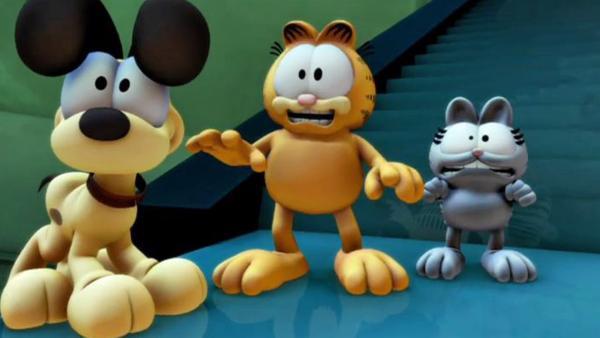 Garfield und seine Freunde, aber auch die Kunsträuberin, haben den Diamanten gefunden. Doch wer ihn zu lange anstarrt, verwandelt sich zu Stein. | Rechte: HR/DARGAUD MEDIA