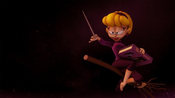 Winona, die Hexe in Garfields Nachbarschaft, verliebt sich in Doc Boy und will ihn zwingen, ihr Bräutigam zu werden.   Rechte: HR/DARGAUD MEDIA