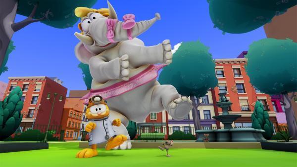 Garfield versucht dem neuen Autor Humor beizubringen. | Rechte: HR/DARGAUD MEDIA
