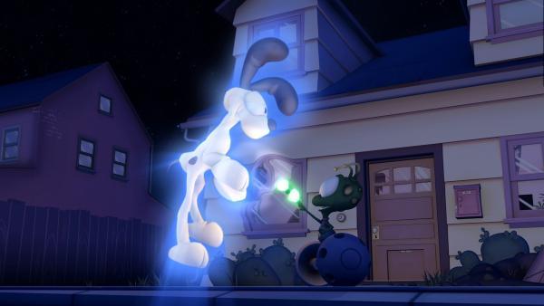 Ein Außerirdischer vertauscht die Körper von Garfield und Odie.   Rechte: HR/DARGAUD MEDIA