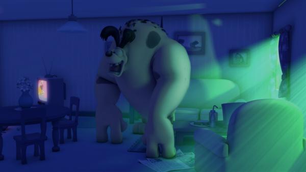 In dieser Nacht verwandelt eine kosmische Hunde-Strahlung Odie in ein Monster. | Rechte: HR/DARGAUD MEDIA