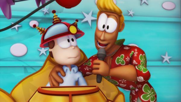Jon und Garfield streiten sich ständig. Sie gehen zu einer Fernsehshow, die Tierhaltern das richtige Haustier und Tieren das passende Herrchen vermittelt. Garfield landet bei dem neunjährigen Freddie. | Rechte: HR/DARGAUD MEDIA