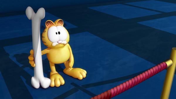 Garfield erkennt sofort, dass es sich um eine Dinosaurierfund handelt.   Rechte: HR/DARGAUD MEDIA