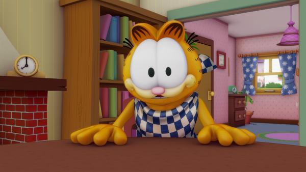 Garfield ist zu dick, das sagt jedenfalls die neue sprechende Waage von Liz. Er kriegt eine Diät verordnet. | Rechte: HR/DARGAUD MEDIA