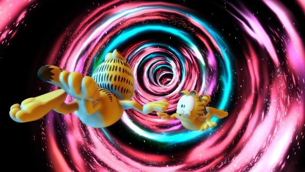 An einem ganz normalen Tag wird Garfield plötzlich in einen merkwürdigen Strudel gezogen und landet in einem Paralleluniversum.   Rechte: HR/DARGAUD MEDIA