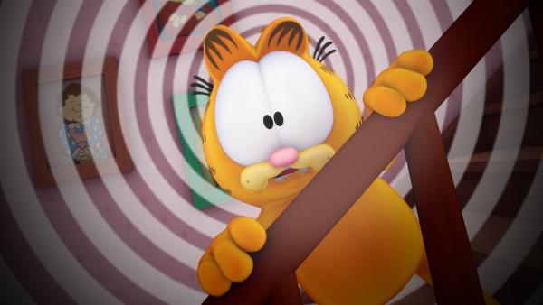 Garfield benimmt sich mal wieder unmöglich. Jon schickt ihn zu einem Katzenerzieher aus dem Fernsehen.   Rechte: HR/DARGAUD MEDIA