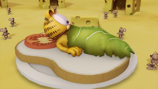 Garfield fliegt in verschiedene fremde Welten, in denen er merkwürdigen bis schrecklichen Wesen begegnet. | Rechte: HR/DARGAUD MEDIA