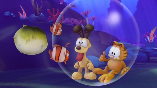 Garfield entschließt sich zu seiner jährlichen Heldentat und springt ins Meer, um Odie zu retten. Dort erwarten ihn ungeahnte Unterwasserabenteuer… | Rechte: HR/DARGAUD MEDIA